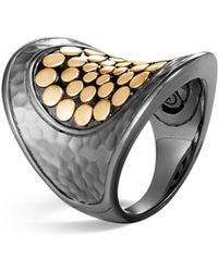 John Hardy - Blackened Sterling Silver & 18k Bonded Gold Dot Saddle Ring - Lyst