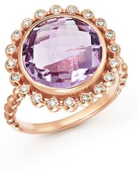 Bloomingdale's - Rose Amethyst And Diamond Statement Ring In 14k Rose Gold - Lyst