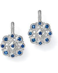 Judith Ripka - Sterling Silver La Petite Snowflake Cluster Earrings With Sapphire - Lyst
