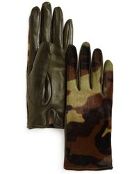 Bloomingdale's - Camo Cashmere & Calf Hair Gloves - Lyst