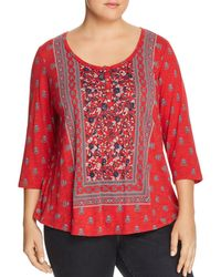 Lucky Brand - Three-quarter Sleeve Bandana Print Tee - Lyst
