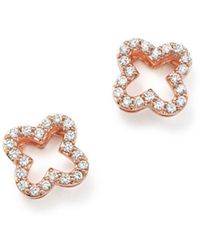 Bloomingdale's - Diamond Clover Stud Earrings In 14k Rose Gold, .20 Ct. T.w. - Lyst