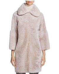 Maximilian - Lamb Shearling Coat With Rabbit Fur Collar - Lyst
