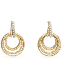 David Yurman - Crossover Drop Earrings With Diamonds In 18k Gold - Lyst