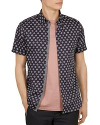 c68056cf512f Ted Baker Geo Floral Print Cotton Shirt in Pink for Men - Lyst