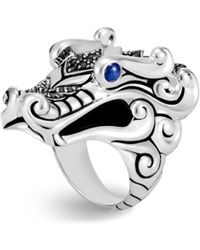 John Hardy - Sterling Silver Naga Ring With Black Sapphire, Black Spinel And Blue Sapphire Eyes - Lyst