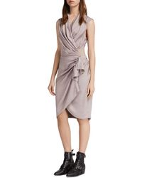 AllSaints - Cancity Ruched Wrap Dress - Lyst