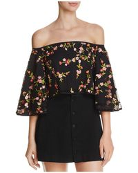 Olivaceous - Embroidered Off-the-shoulder Cropped Top - Lyst