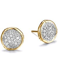 John Hardy - Bamboo 18k Yellow Gold Diamond Pavé Small Round Stud Earrings - Lyst