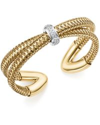 Roberto Coin - 18k White And Yellow Gold Primavera Diamond Cuff Bracelet - Lyst