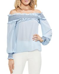Vince Camuto - Smocked Crossover Off-the-shoulder Top - Lyst