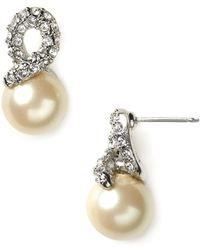Carolee - Elegant Bride Pearl And Pave Earrings - Lyst