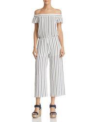 Aqua - Striped Off-the-shoulder Wide-leg Jumpsuit - Lyst