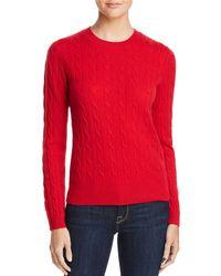 Aqua - Cable Crewneck Cashmere Sweater - Lyst