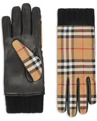 Burberry - Cashmere-lined Leather-trimmed Check Gloves - Lyst
