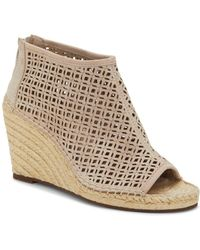 Vince Camuto - Women's Lereena Caged Leather Peep Toe Espadrille Wedge Sandals - Lyst