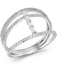 KC Designs - 14k White Gold Mosaic Three-row Diamond Ring - Lyst