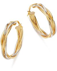 Bloomingdale's - Double Braided Oval Hoop Earrings In 14k White & Yellow Gold - Lyst