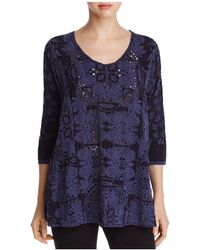 Johnny Was - Christina Floral Embroidered Eyelet Top - Lyst