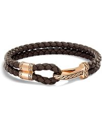 John Hardy - Classic Chain Brown Leather & Bronze Hook Bracelet - Lyst