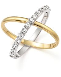 "KC Designs - Diamond ""x"" Ring In 14k Yellow And White Gold - Lyst"