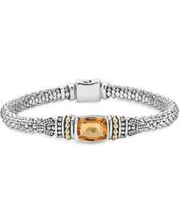 Lagos - 18k Gold And Sterling Silver Caviar Color Bracelet With Citrine - Lyst