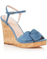 Kate Spade - Women's Janae Chambray Platform Wedge Sandals - Lyst