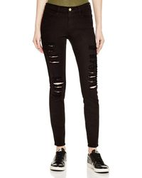 FRAME - Le Color Ripped Jeans In Film Noir - Lyst