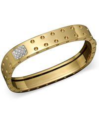 Roberto Coin - 18k Yellow Gold Pois Moi Double Row Diamond Bangle - Lyst