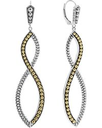 Lagos - Sterling Silver Drop Earrings With 18k Gold Caviar Beading - Lyst