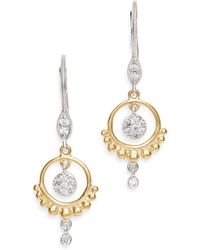 Meira T - 14k Yellow & White Gold Open Circle Diamond Dangle Earrings - Lyst