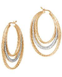 John Hardy - 18k Yellow Gold Classic Chain Pavé Diamond Medium Hoop Earrings - Lyst