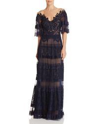 Tadashi Shoji - Pleated Illusion Gown - Lyst