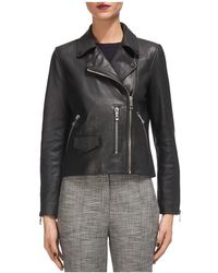 Whistles | Agnes Leather Moto Jacket | Lyst