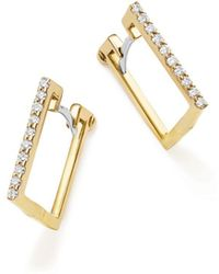 Roberto Coin - 18k Yellow Gold Diamond Square Hoop Earrings - Lyst