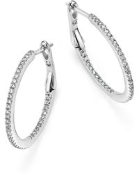 Bloomingdale's - Diamond Micro Pavé Inside Out Hoop Earrings In 14k White Gold, .25 Ct. T.w. - Lyst