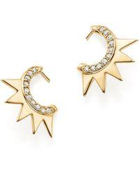 ICONERY - X Luv Aj 14k Yellow Gold Crown Huggie Hoop Earrings With Diamonds - Lyst