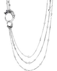 """John Hardy - Sterling Silver Legends Naga Multi Row Necklace With Sapphire Eyes, 30"""" - Lyst"""
