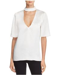 PAIGE - Cateline V-cutout Silk Top - Lyst