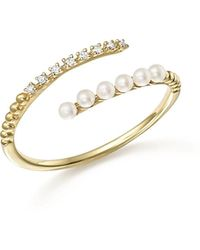 Meira T - 14k Yellow Gold Diamond And Cultured Freshwater Pearl Ring - Lyst
