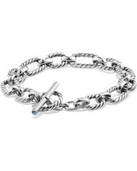 David Yurman - Chain Cushion Link Bracelet With Blue Sapphire In Sterling Silver - Lyst