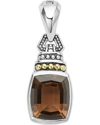 Lagos - 18k Gold And Sterling Silver Caviar Color Pendant With Smoky Quartz - Lyst