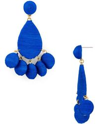 Aqua - Fabric Wrapped Drop Earrings - Lyst