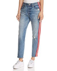 Pistola - Nico Striped Distressed Straight-leg Jeans In Racer - Lyst