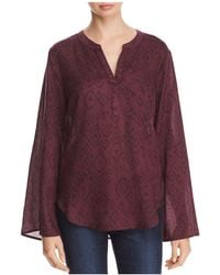 Side Stitch - Printed Flare-sleeve Top - Lyst