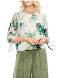 Vince Camuto - Sunlit Palm Drawstring-sleeve Top - Lyst