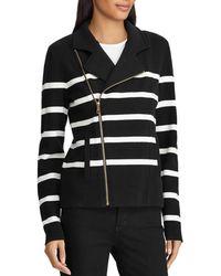 Ralph Lauren - Lauren Striped Knit Moto Jacket - Lyst