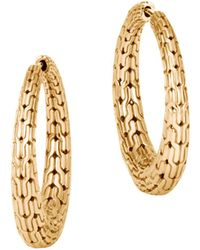John Hardy - 18k Yellow Gold Classic Chain Graduated Medium Hoop Earrings - Lyst