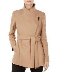 90d8f090b3814f Lyst - Ted Baker Short Wrap Cashmere-blend Coat in Black