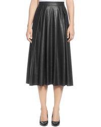 T Tahari - Faux Leather Pleated Midi Skirt - Lyst